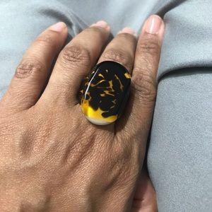 """Beautiful hand blown glass """"tortoise"""" ring"""